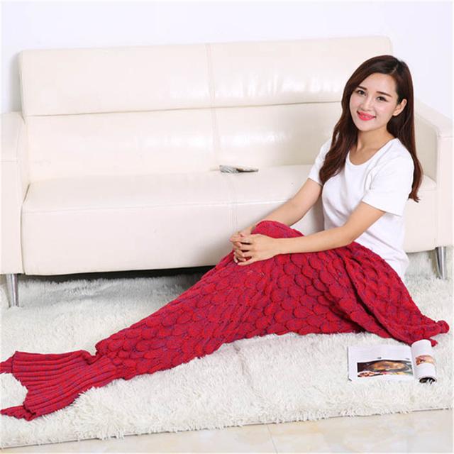 2016 Otoño Invierno Mujeres Caliente Cola de Sirena Manta Saco de Dormir de Punto de Las Señoras de Pescado Adulto Crochet Largo Abrigo de ropa de Cama