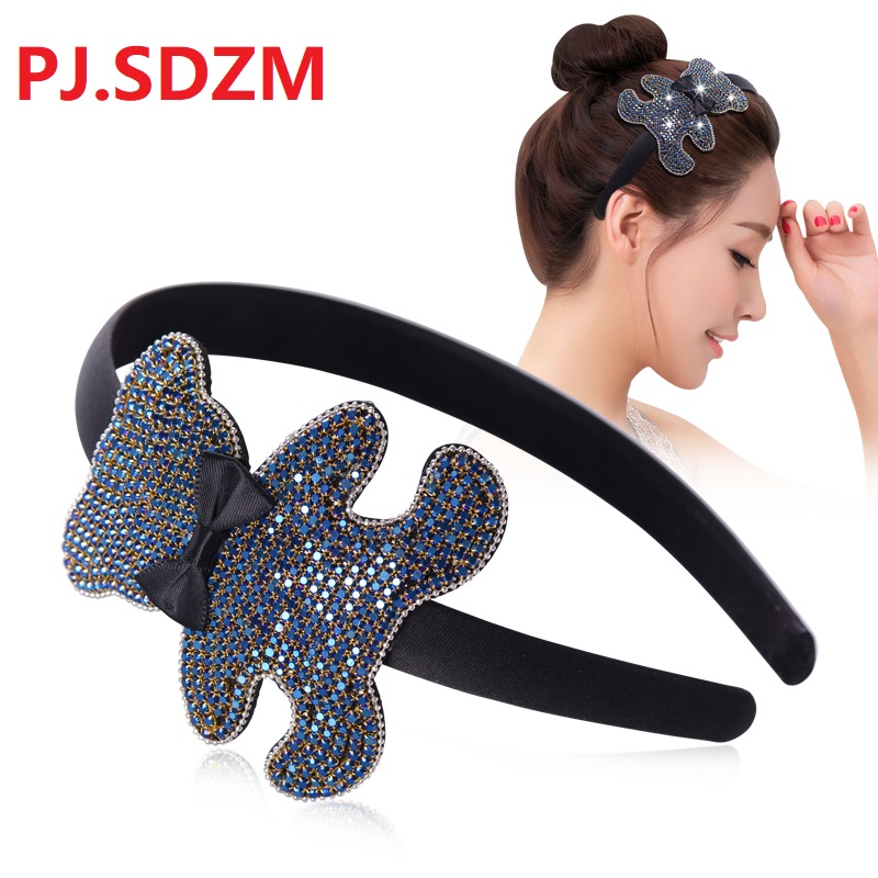 Sweet Bear CZ Rhinestone Hairbands Girl Shinny Crystal Hair Accessories Slip-Proof Girl Hairwear Simple Headband Cartoon