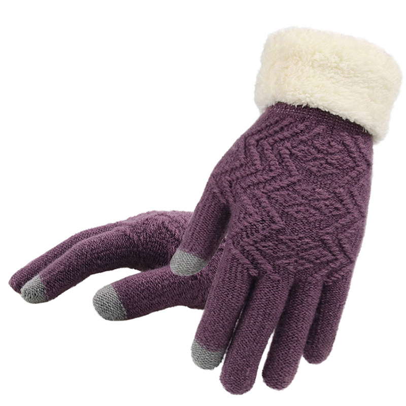 Winter Women Knitted Gloves Touch Screen Keep Warm Gloves Female Full Finger Soft Stretch Knit Mittens Guantes(China)