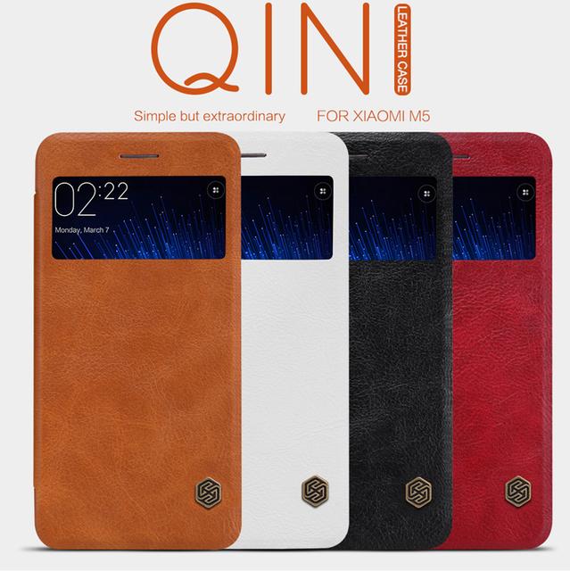 Original Nillkin Qin Série de Casos De Couro de Telefone Celular para Xiaomi M5 Mi5 Moda de Luxo Inteligente Caso Vista Da Janela Da Aleta