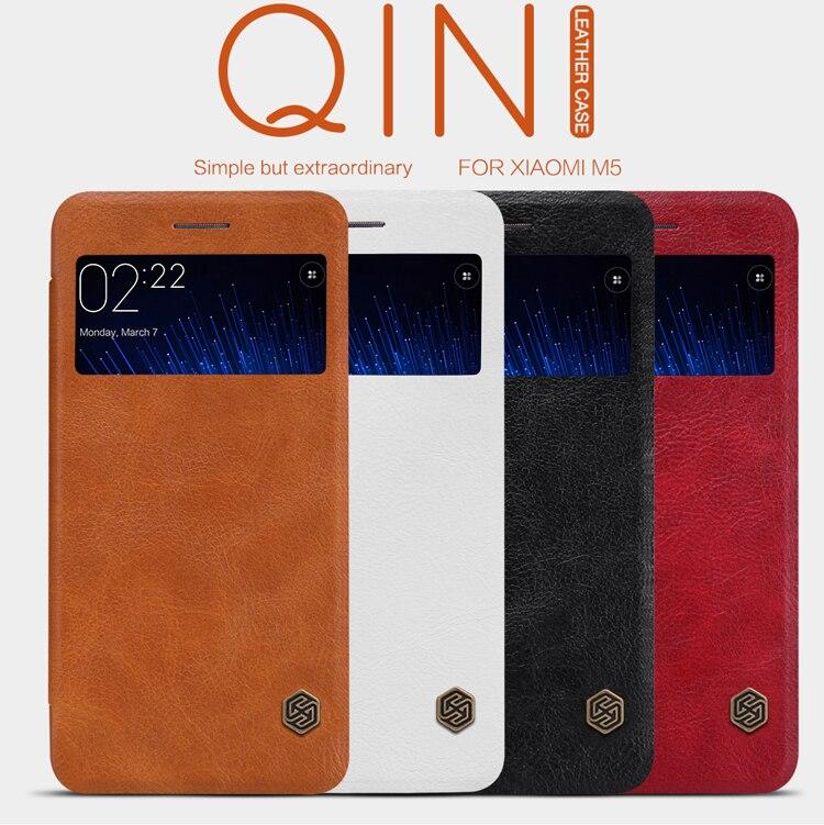 imágenes para Serie de Casos de Cuero Del Teléfono Celular para Xiaomi Original de Nillkin Qin M5 Mi5 Elegante Ventana de Visualización Del Caso Del Tirón de Moda de Lujo