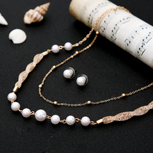цены 2019 Simulated Pearl Dubai Jewelry Sets for Women Gold Color Layers Choker Necklace Chic Stud Earrings Set Party Accessories
