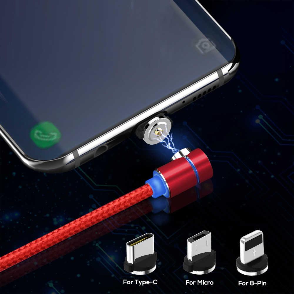 Che scorre Luce Magnetica 90 Gradi per Micro USB e di Tipo C Cavo di Ricarica Veloce Per iPhone X XR 6 7 8 più & xiaomi Samsung S9