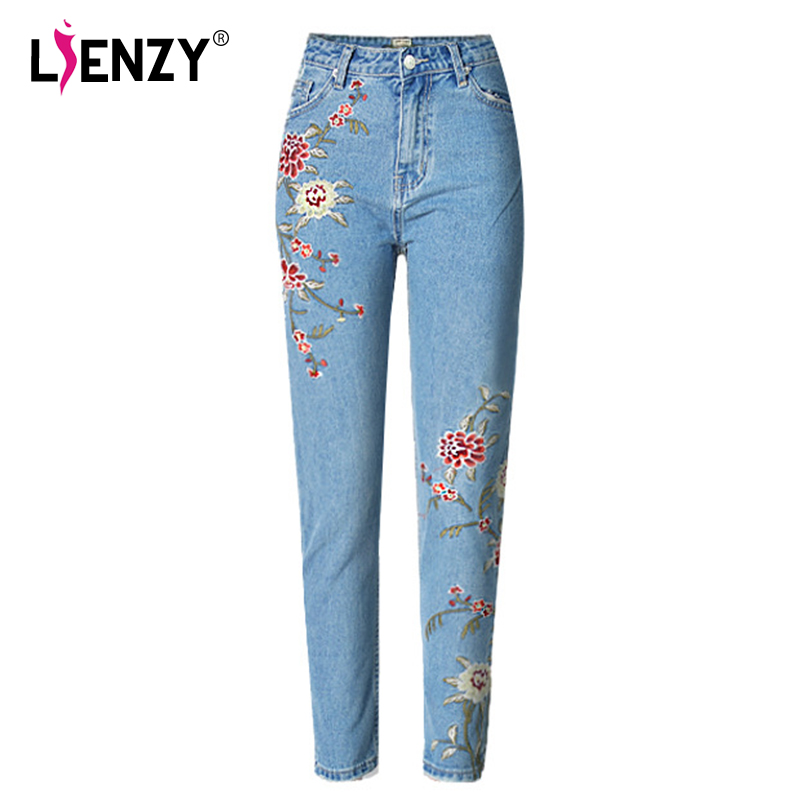 LIENZY Spring Casual Women Pencil Jeans High Waist Floral Embroidery Fashion Ankle Length Women Denim Pants 0.55kg 2017 spring new women sweet floral embroidery pastoralism denim jeans pockets ankle length pants ladies casual trouse top118