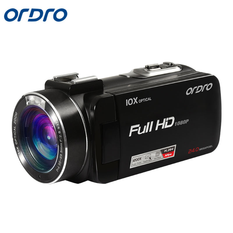 ORDRO 1080P HD HDV-Z82 3.0 Inch TFT LCD Touch Screen  Camcorder Hot Shoe 24MP 10X Optical Zoom Camera Anti-shake CMOS