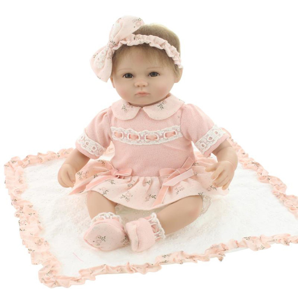 18inches lifelike reborn doll baby soft silicone vinyl real touch doll lovely newborn baby Gift for Little Girl