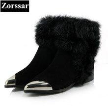 {Zorssar} 2017 новые классические зимние женские ботинки из плюша Замшевые Зимние ботильоны женские Обувь на теплом меху женская обувь с острым носком на плоской подошве