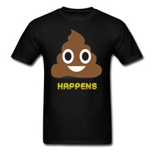 New Design Pre-cotton Male Shit Happens Poop Emoji Emoticon Shirt Costume Youth Pre-cotton T Shirt