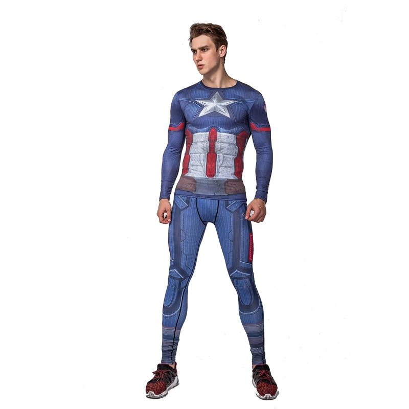 Men Captain America digital printing long sleeved T-shirt fitness suit rasgard sport clothes sweat quick drying sets Rashgard