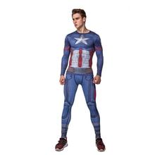 Men Captain America digital printing long sleeved T shirt font b fitness b font suit rasgard