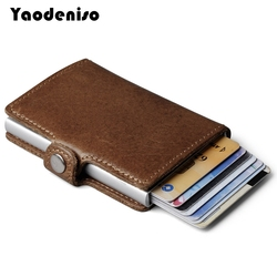 100% Genuine Leather Aluminum Wallet ID Card Holder RFID Blocking Mini Magic Wallet Automatic Pop Up Credit Card Coin Purse