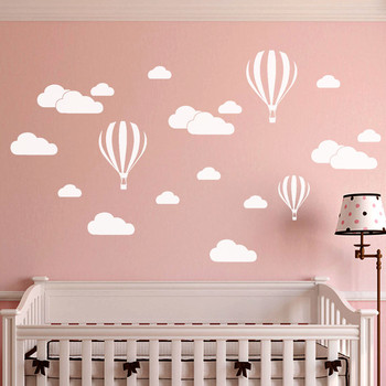 Wall stickers for kids room - Large Clouds and Hot Air Balloon
