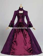 Georgian Victorian Gothic Period Dress Masquerade Ball Gown Reenactment Theatre Costume Purple