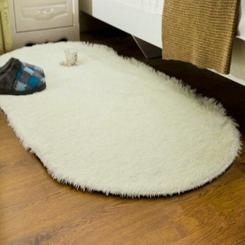Long Oval Fluffy Sofa Cover Carpet Mat Faux Fur Area Rug Living Bedroom Home Decoration Floor Slip Resistant Colorful Mat
