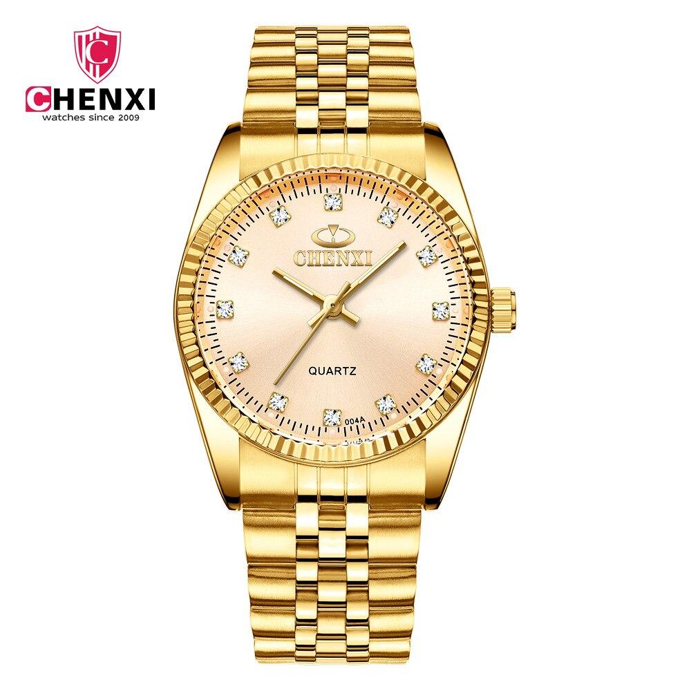 Fashion Chenxi Brand Golden Clock Gold Men Watch Full Stainless Steel Quartz Watcheswholesale Woman Lovers Wristwatches 004a