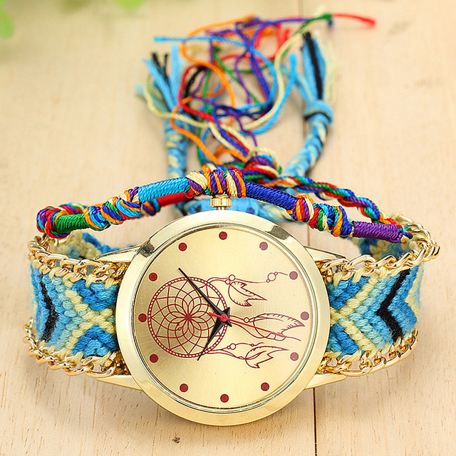 Handmade Braided Dreamcatcher Friendship Bracelet Watch Ladies Rope Watch Quarzt Watches Relogio Feminino  4