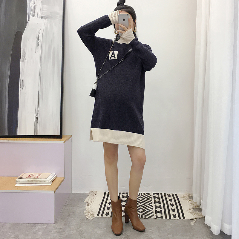 Maternity Women Hoodless O-neck Long Sleeve Knit Blouses New Moms Loose Fit Contrast Color Knitting Fashion Sweater DressesMaternity Women Hoodless O-neck Long Sleeve Knit Blouses New Moms Loose Fit Contrast Color Knitting Fashion Sweater Dresses