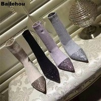Bailehou Women Sock Boots Bling Sequin Patchwork Knit Boots Slip On Winter Shoes Fashion Elastic Ankle Boots Low Heel Women Boot