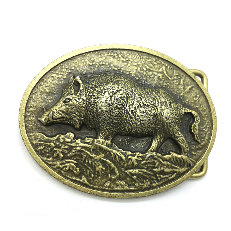 Fashion Metal Carving Wild Boar Belt Buckle Super Cool Mann Logo Pig Jeans Tilbehør Passer 3.8CM-4CM Belt Best Man Gift