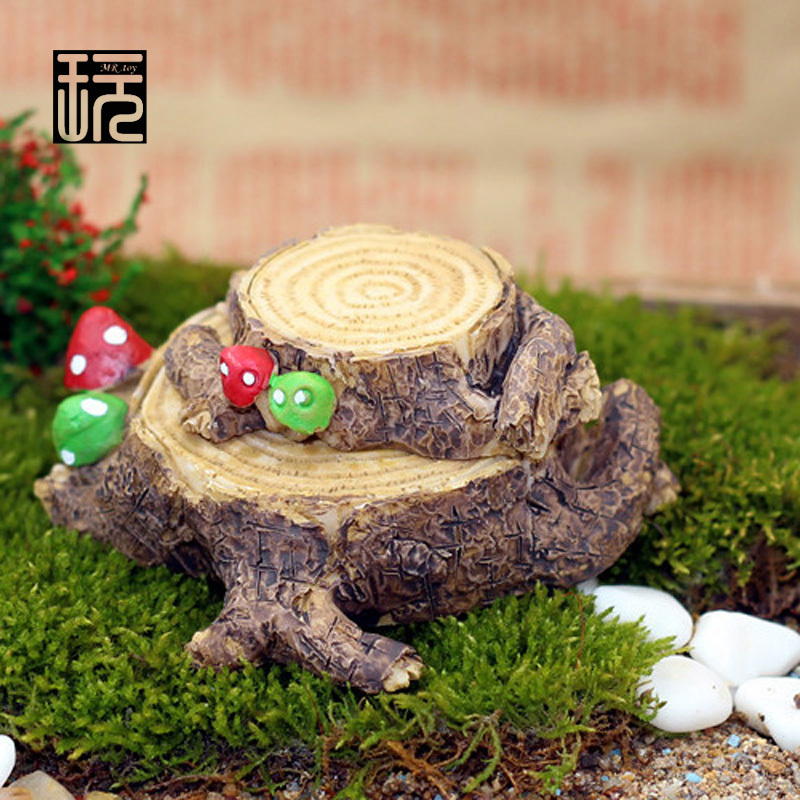 Zakka Resin Retro Base Mushrooms Stump Mini Ornaments DIY Fairy Garden Miniatures Succulents/ Micro Moss Landscape Decoration