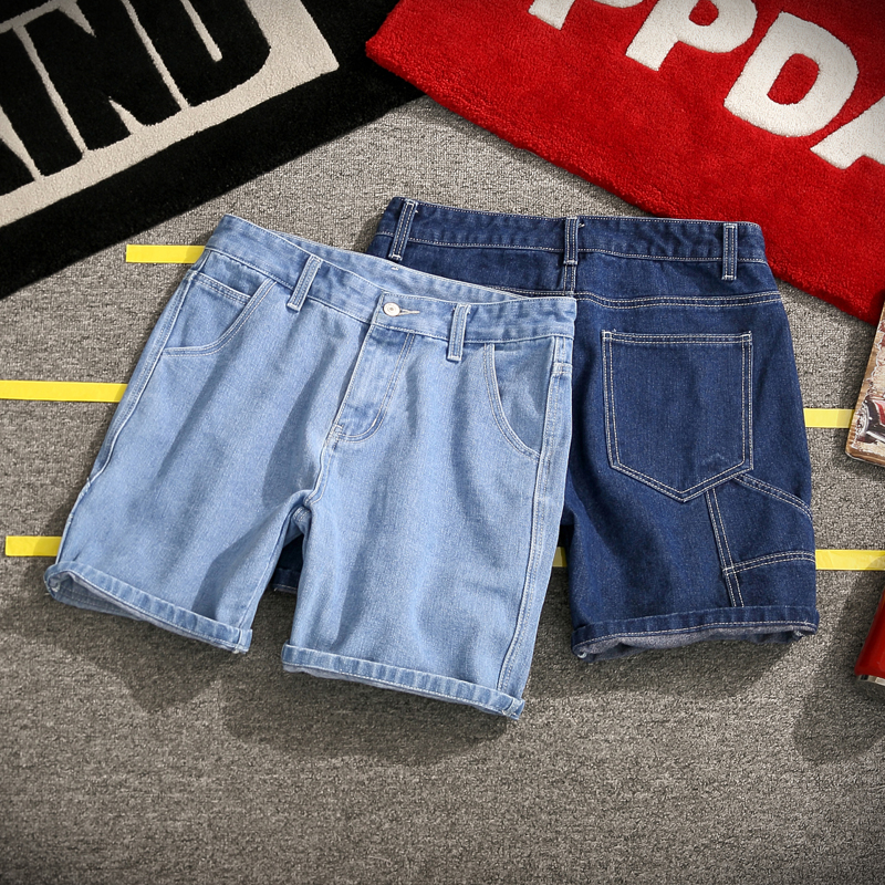 Jeans Shorts Men Summer New Plus Size 5xl Men's Pure Color Loose Large Pocket Denim Shorts Masculino
