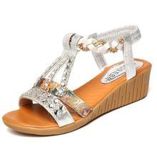 Women Shoes Summer Women Sandals Bohemian Rhinestone Platform Wedge Sandalia Feminina Flip Flops Ladies Casual Shoes