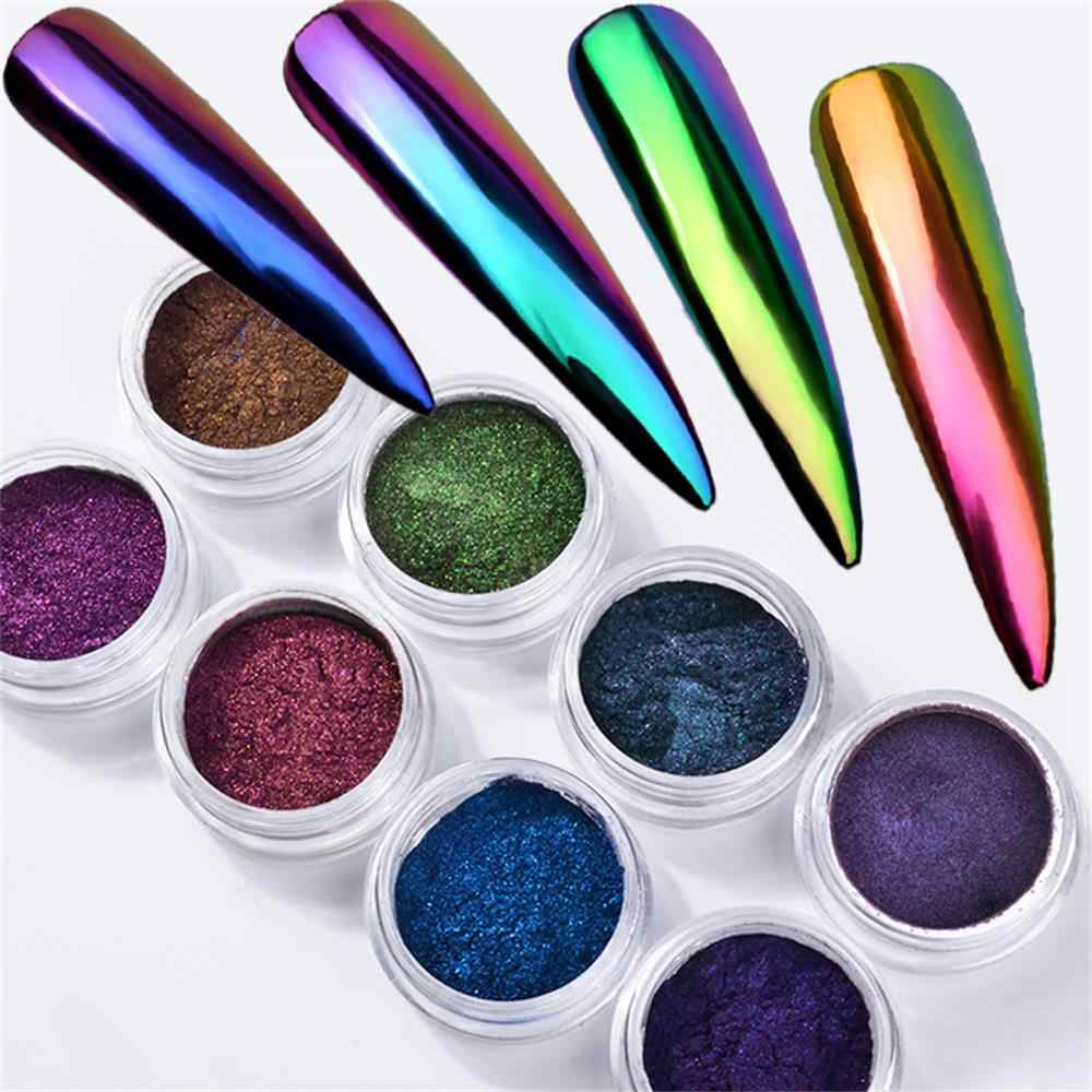 1 Box 3D DIY Optical Nail Mirror Powder Chrome Pigment Dust Glitters Manicure Nails Art Decoration Accessories Tools
