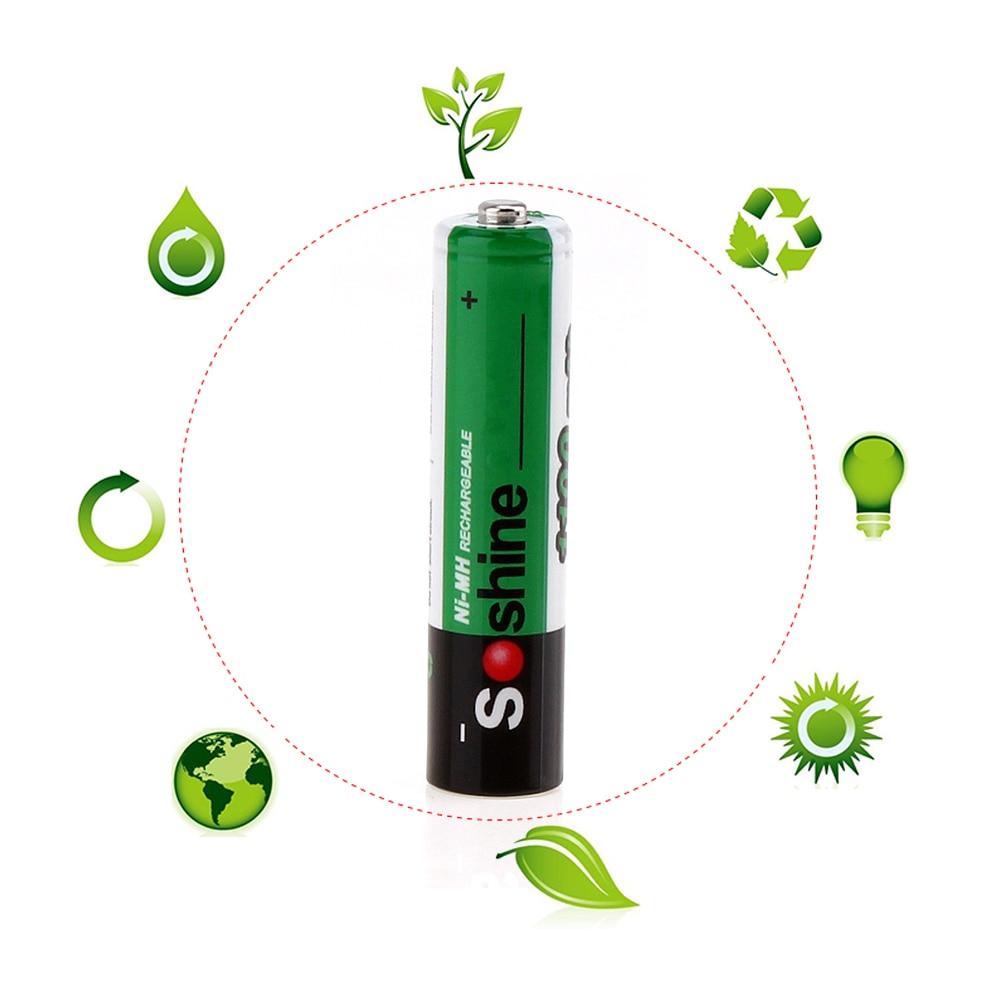 16pcs! Soshine AAA Rechargeable Battery 1100mAh 1.2V Ni-Mh NiMh AAA Battery with 1000 Cycle + Portable Battery Storage Box Case