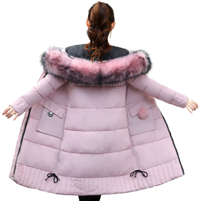 High Quality Warm Thicken Women Winter Jacket Fur Hooded Down Cotton Female Coat Long   Parka   Outwear Women   Parkas   Mujer