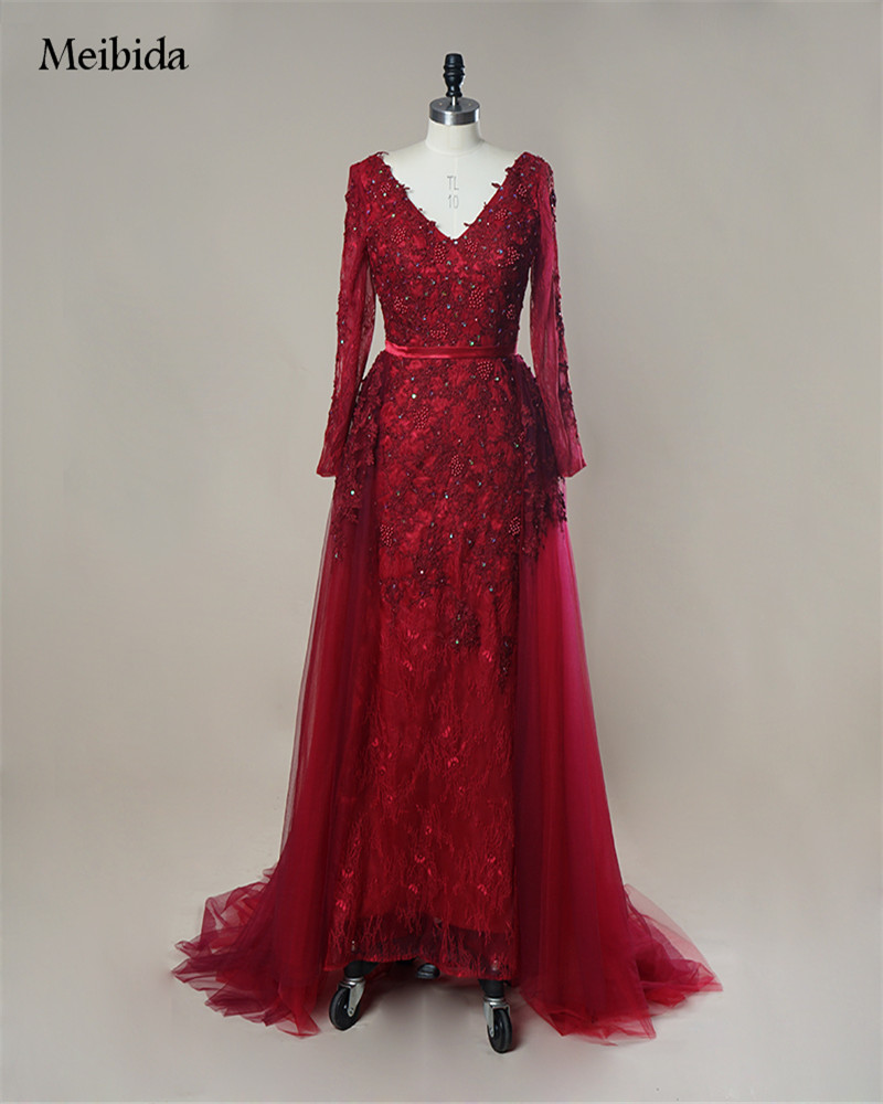 Burgundy Evening Dress 2017 V-neck Long Sleeve Beaded Appliques Lace Elie Saab Formal Dress For Prom Party Wedding Vestido Festa