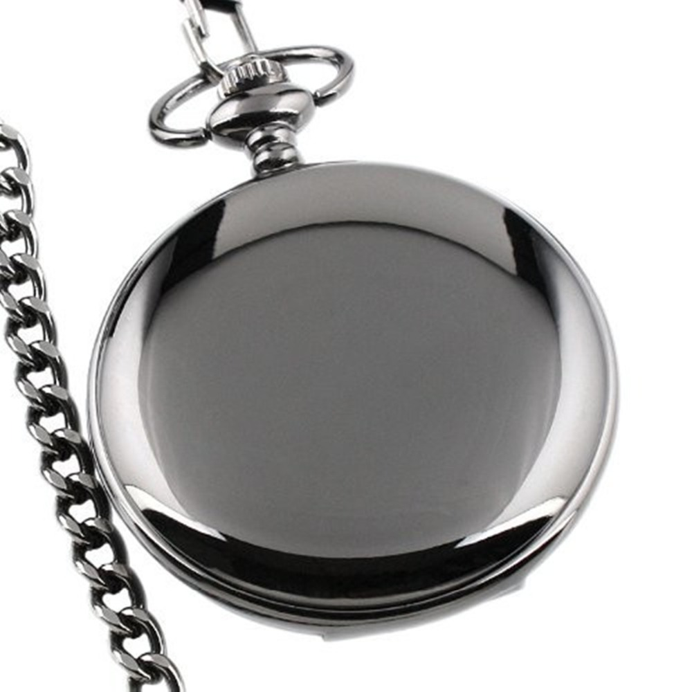 Classic Black Smooth Steampunk Pocket Watch Men With Fob Nacklace Chain Fashion Quartz Watch Mens Womens Gift Reloj Bolsillo