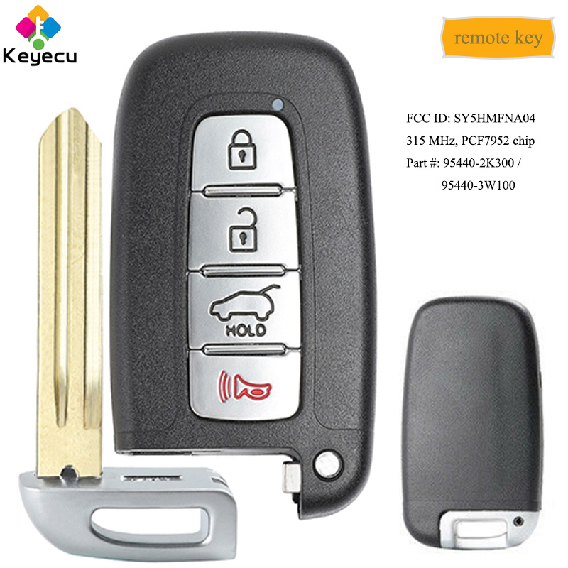 KEYECU Smart Remote Car <font><b>Key</b></font> With 4 Buttons 315MHz PCF7952 Chip - FOB for <font><b>Kia</b></font> Forte <font><b>Sportage</b></font> Soul <font><b>2011</b></font> 2012 2013, FCC: SY5HMFNA04 image