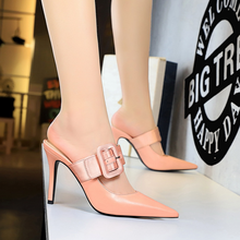 Women shoes fashion European and American style simple stiletto with high-heeled shallow mouth pointed word belt buckle slippers free shipping stylish and elegant high heeled shoes of fine silk surface shallow mouth pointed diamond pearl word strap sandals