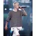 Nova Moda Justin Bieber Temor De Deus Propósito Turnê Preto Branco listrado Nevoeiro T Shirt Dos Homens Cobre T Hip Hop Streetwear S-XL XT3022