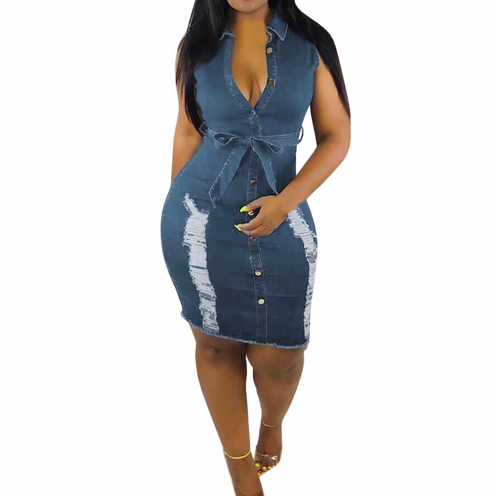 فستان مثير من قماش الدنيم بزر إلى أسفل فساتين صيفية للسيدات من الدانتيل فستان جينز طويل فستان نسائي صيفي vestido elbise رداء sukienka # G8