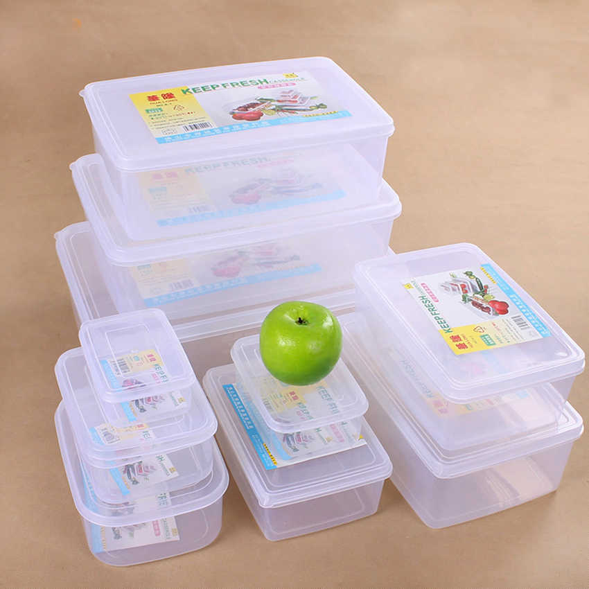 Multifuncional transparente selado crisper conjunto plástico moistureproof alimentos caixa de armazenamento recipientes de cozinha com logotipo