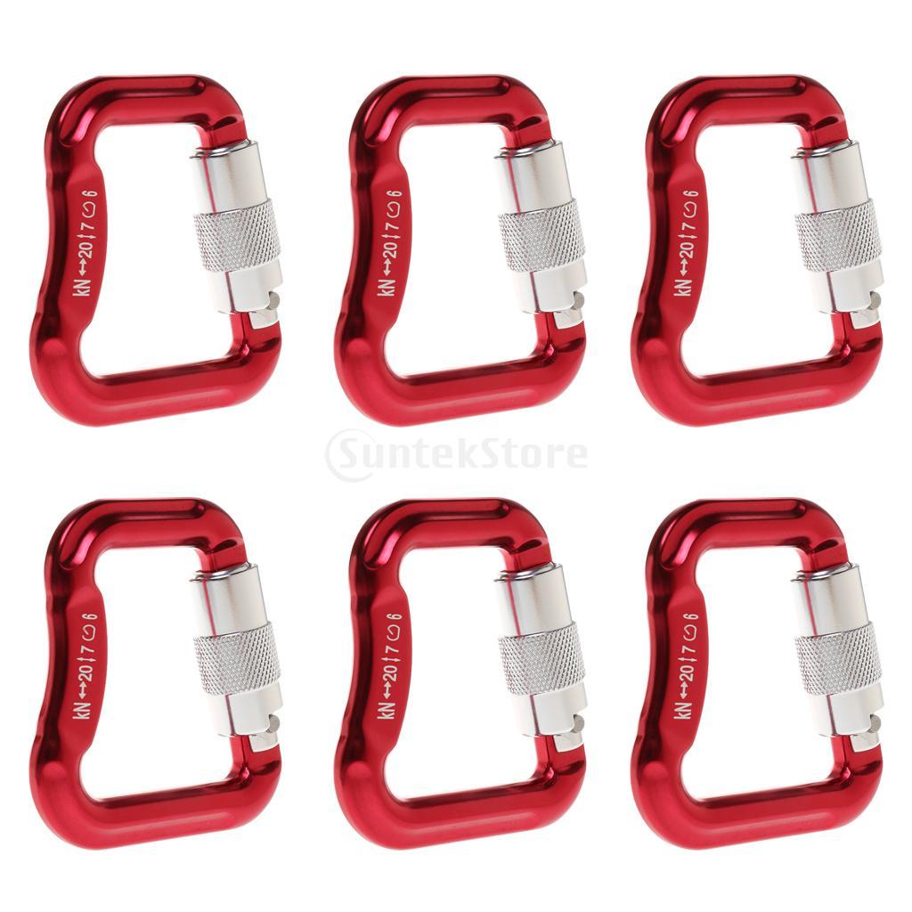 Spor ve Eğlence'ten Tırmanma Aksesuarları'de 6 adet Set 20KN alüminyum otomatik kilitleme Caribiners tırmanma  yamaç paraşütü ve güçlendirilmiş yamaç paraşütü kırmızı title=