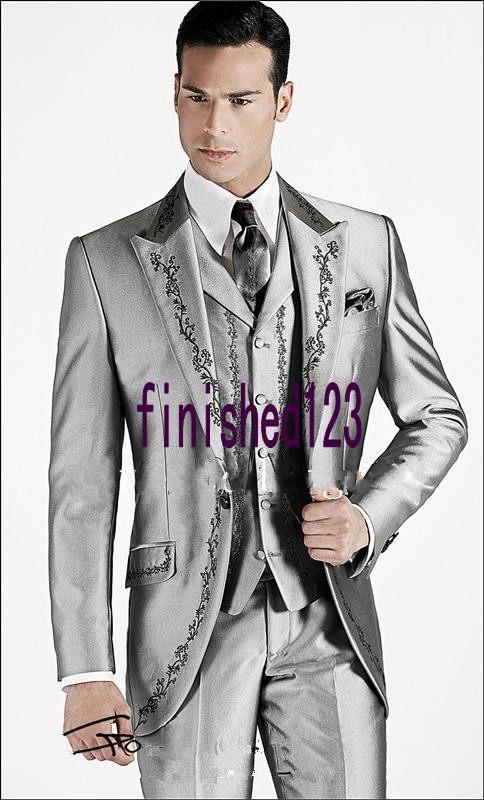Naujas stilius sidabras pilkas siuvinėjimo jaunikis Tuxedos - Vyriški drabužiai - Nuotrauka 1