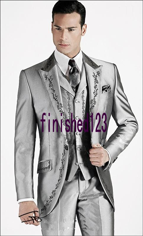 New Style Silver Gray Embroidery Groom Tuxedos Groomsmen Men's Wedding Prom Suits Bridegroom (Jacket+Pants+Vest+Tie) K:596