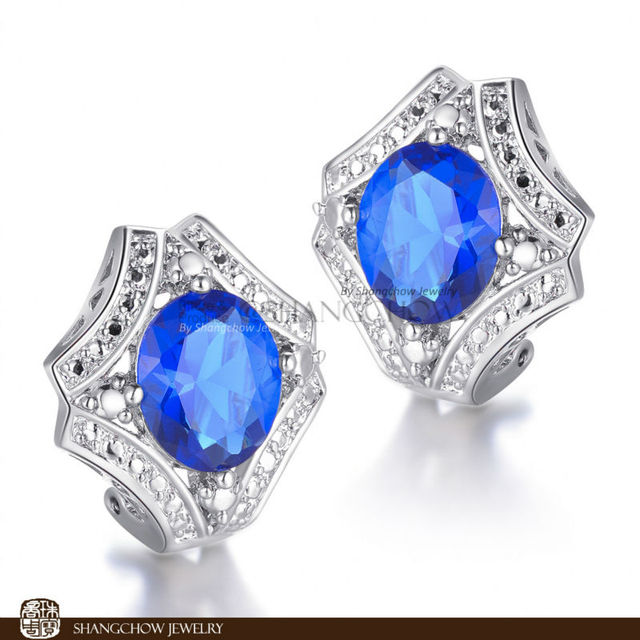 New! Stunning Fashion Jewelry Blue  Quartz  925 Sterling Silver Earrings E0205