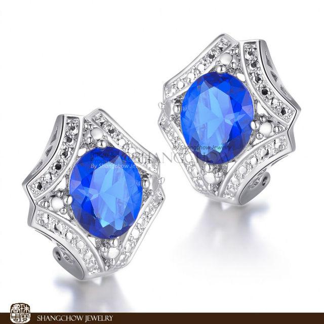 Novo! Moda impressionante Jóias De Quartzo Azul 925 Esterlina Brincos de Prata E0205