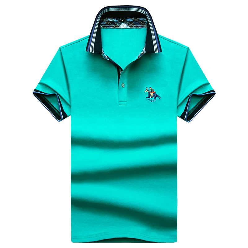 2019 夏 3D 刺繍ポロシャツ男性半袖シャツスリムフィットポロオムメンズポロシャツ 8 色 1713