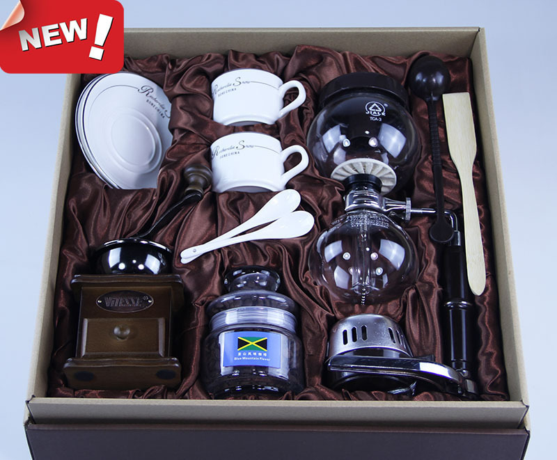 Manual Syphon Gift distillation pot home maker TCA-3-D breaker with mill coffee cup Set gift box set handleless pot pillar cup filter cup drip coffee maker grinder home use can send a person top grade coffee gift box