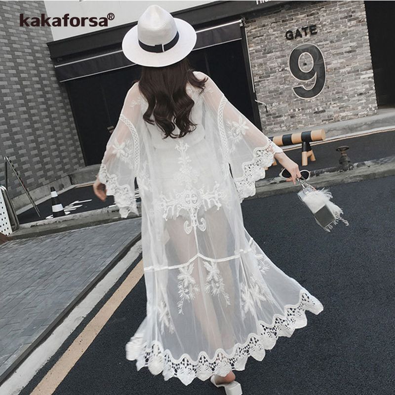 Kakaforsa 2019 Sexy Lace Beach Cover Up Floral Embroidery Pareo Bikini Cover Ups Hollow Out Beach Cardigan Bathing Suit Cover Up