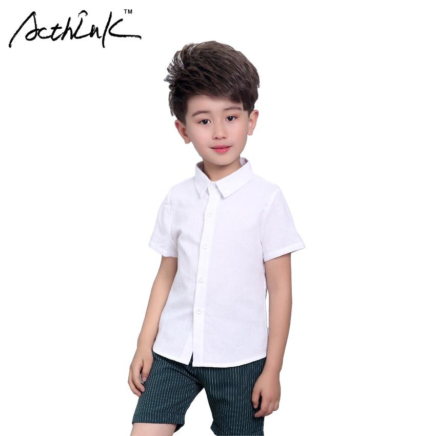 ActhInK New Boys Summer White Dress Shirts Kids Short Sleeve Turn-down Collar Wedding Solid Shirts for Boys Children Shirts,C303