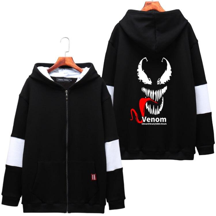 Fashion Men's Hoodie Movie Venom Superhero Eddie Brock Hooded Sweatshirts Unisex Casual Hody Zipper Jacket Winter Coat