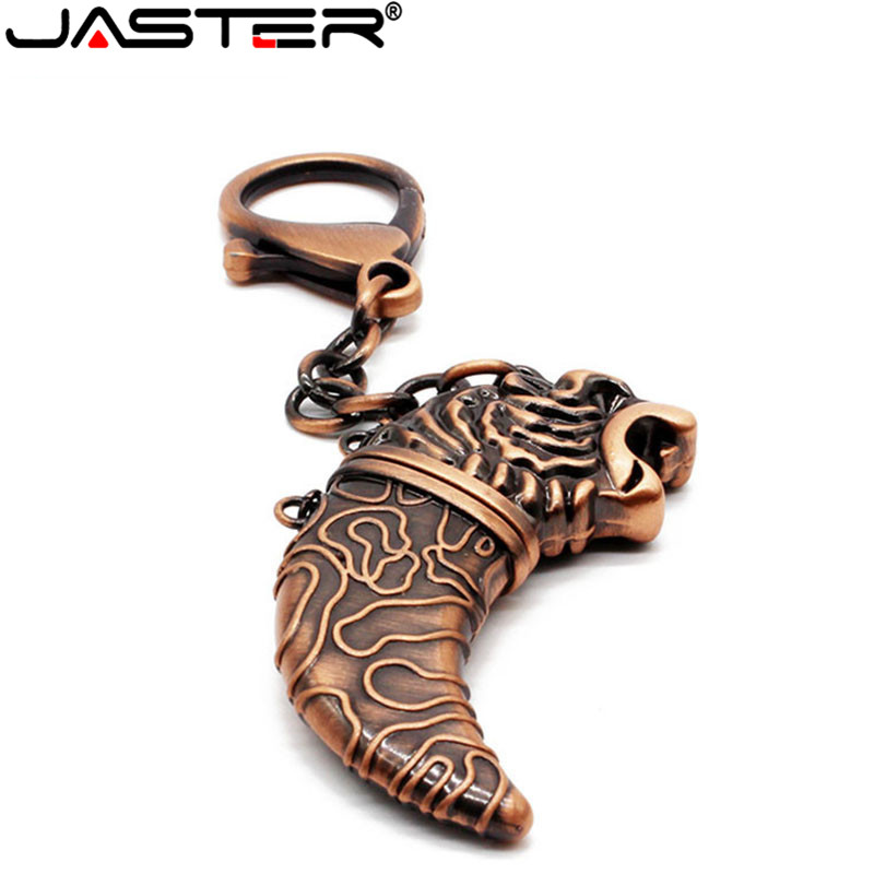 JASTER Fashion Hot Selling Metal Tiger Head Saber External Storage Memory Stick USB 2.0 4GB 8GB 16BG 32GB 64GB USB Flash Drive