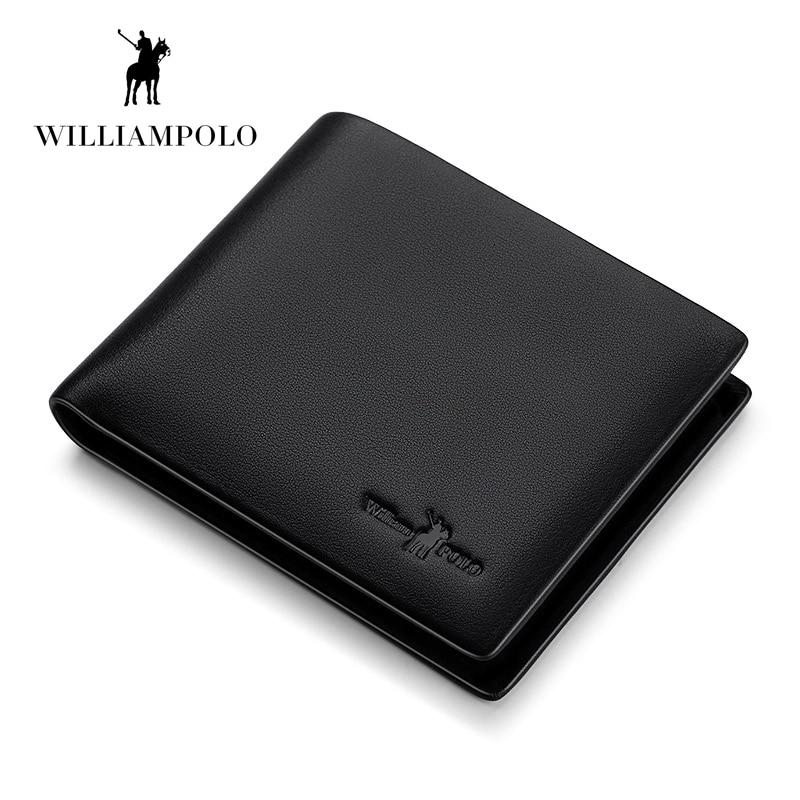 WILLIAMPOLO 100% Genuine Leather Wallet Men Purse Male Cuzdan Small Wallet Portomonee Mini Vallet Perse Card Holder PL171338