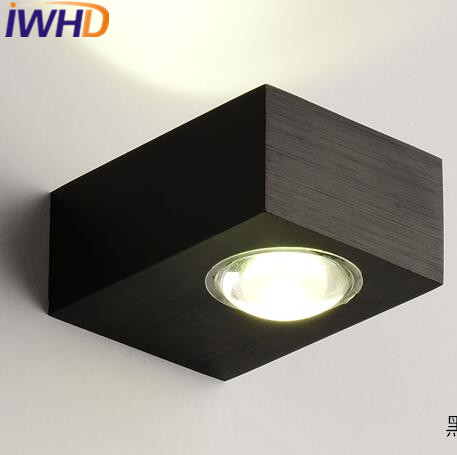IWHD Iron Scoce Led Wall Light Fixtures On the Wall Fashion Modern Wall Lamp White Black Bedroom Stair Lighting Wandlamp