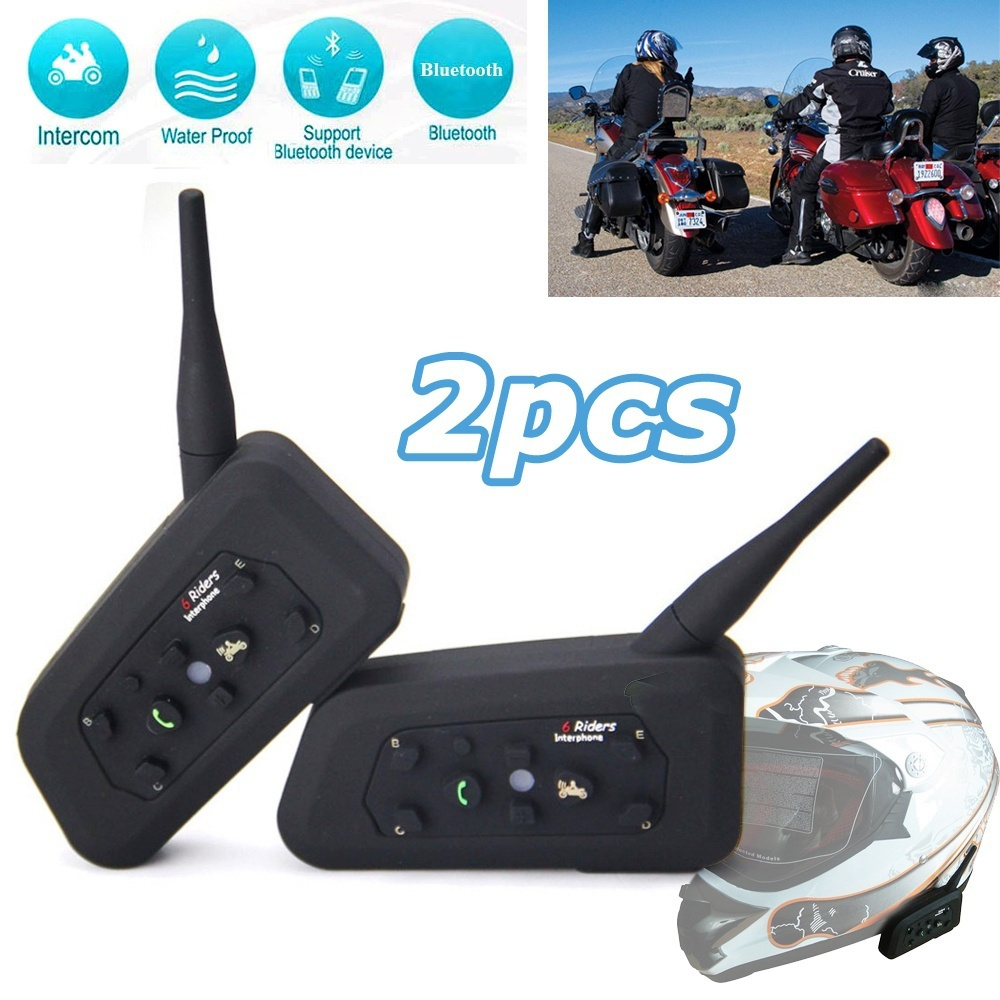 2 x BT 1200M Motorcycle Helmet Bluetooth Intercom Headset Connects up to 6 Riders FREE SHIPPING
